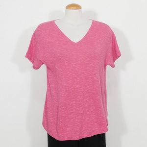 Pink Linen Cotton Slub V-neck Sweater Top XS